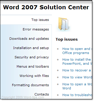 Word 2007 Solution Center options