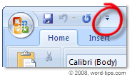The Customize Quick Access Toolbar button