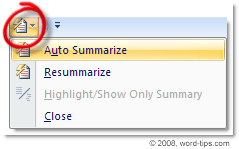 AustoSummary Tools option on the QuickAccess bar