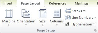Page layout settings in Word 2010