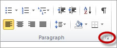 paragraph dialog launcher in Microsoft Word 2010