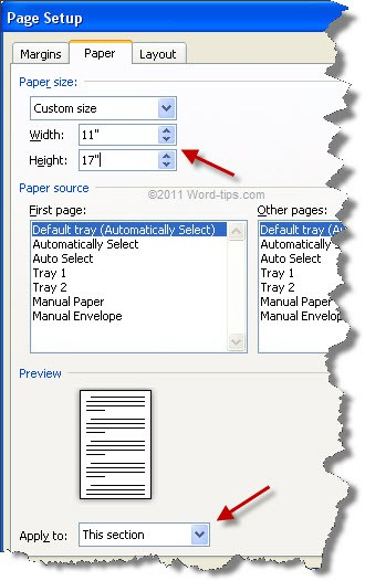Changing the paper size in the Page Setup dialog box