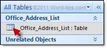 Selecting the Office Address List table in Microsoft Access